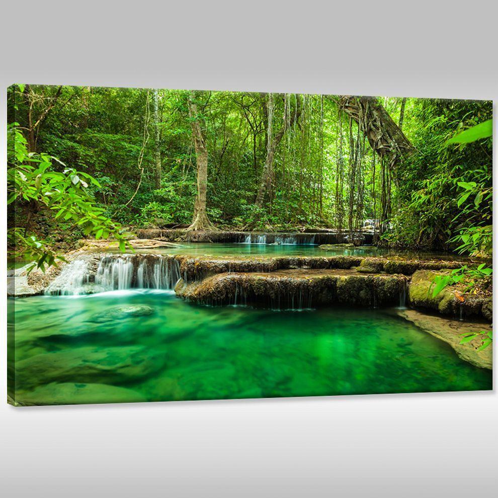 Tela CANVAS IMMAGINI Muro Stampa d'Arte Paesaggio Piante Piante Piante cascata Erawan a2f46f