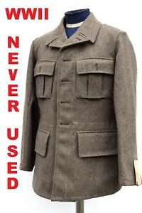 Vintage-Swedish-Army-Fitted-Wool-Coat-Jacket-Tunic-WWII-M39-NEW-1940