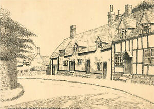 N.K. Day - 1969 Pen and Ink Drawing, Village Street Scene