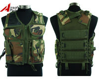 Tactical Military Airsoft Paintball Combat Vest W/ Pistol Gun Holster Woodland