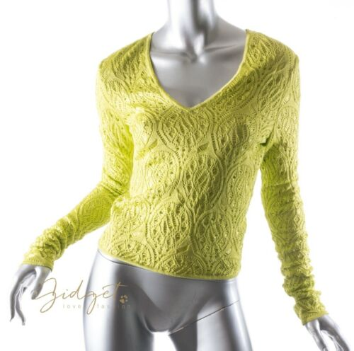 John Galliano Size M Chartreuse Green Crocheted To