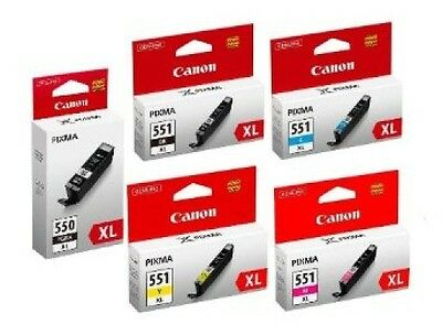 5 Genuine Canon PGI-550XL CLI-551XL Ink Cartridge Set for Canon Pixma iX6850 Ink
