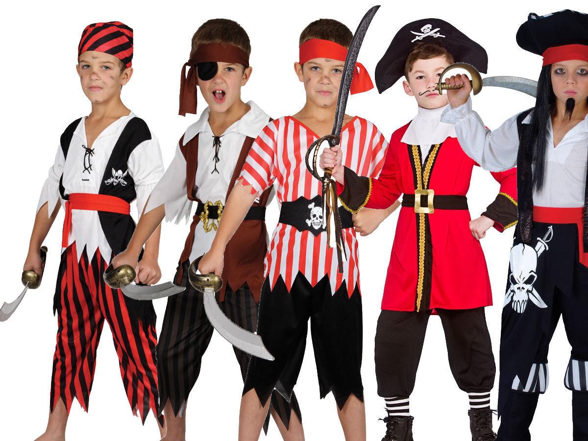 Boys Pirate Hook Captain Kids Neverland Blackheart Childs Fancy Dress Costume