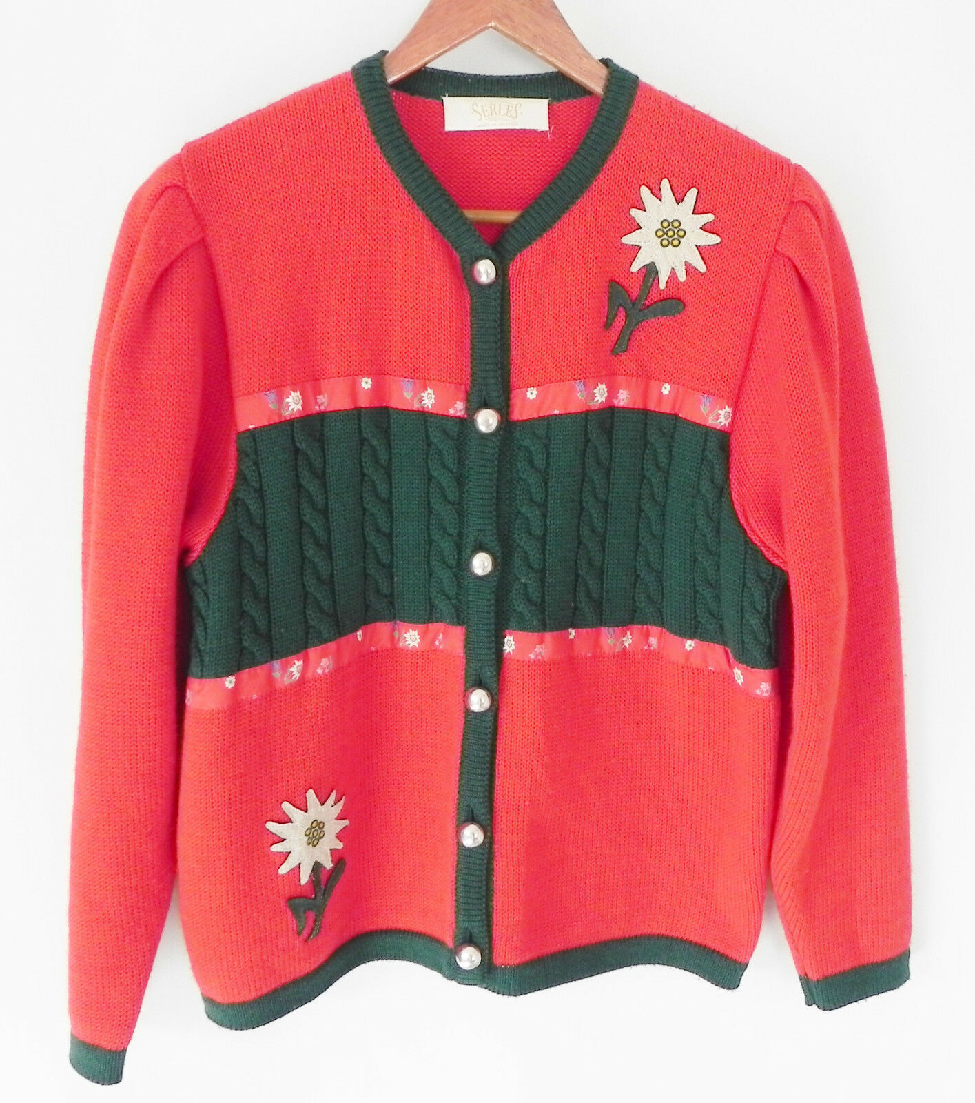 Serles Made in Austria 100% wool Sweater Cardigan Christmas Red,Green SizeM L