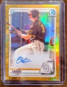 2020 Bowman Draft Owen Caissie 1st Bowman Gold Refractor Auto #/50 - Padres/Cubs