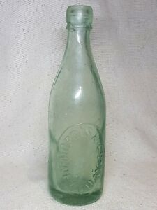 Antique-Powell-amp-Ricketts-Bristol-Clear-Glass-Bottle-Morris-amp-Co-Newqay
