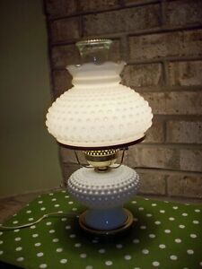 Vintage-White-Hobnail-Milk-Glass-Electric-Hurricane-Lamp-With-Ruffled-Chimney