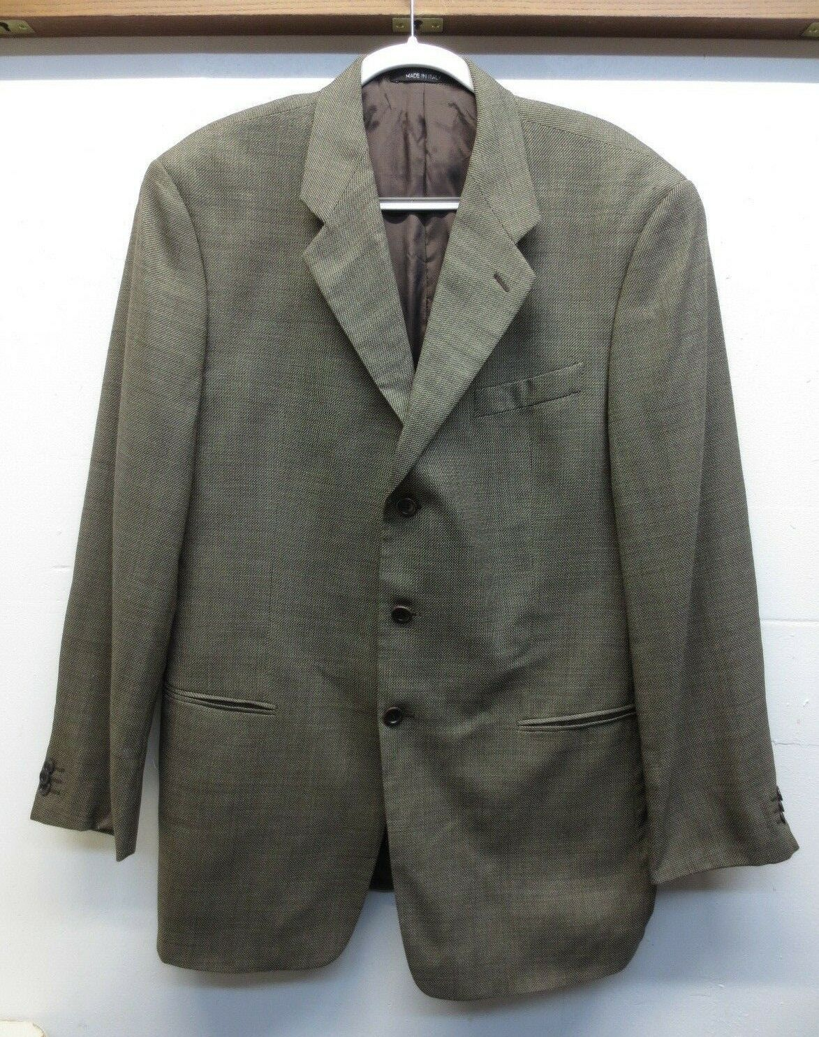 EUC Armani Collezioni Sport Coat Brown Beige Wool Silk 3 Button 0 Vent Size 44L
