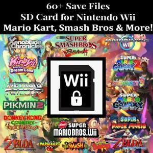 Details about Unlocked Nintendo Wii SD Memory Card | 60+ Save Files | Smash  Bros,Mario Kart