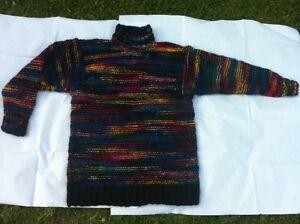 Unikat-Handgestrickter-Pullover-aus-handgesponnener-Schurwolle-Gr-L-XL
