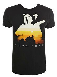 Star-Wars-Boba-Fett-Jabba-039-s-Palace-Silhouette-Black-Men-039-s-T-Shirt-New