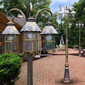 Lampione 3 Luci Lampada da Giardino Illuminazione Esterni Stile ...