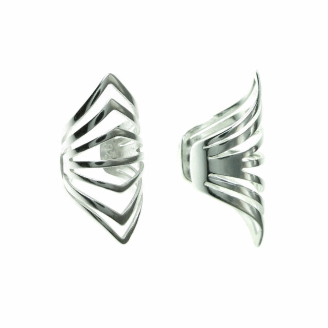925 Sterling Silver Filigree Gothic Ring Clip On Cuff Earrings / Ear Wrap