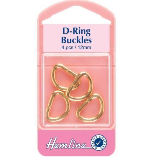 Hemline 4 x 12mm d anneaux or ou argent à sangle et boucle sangle sac