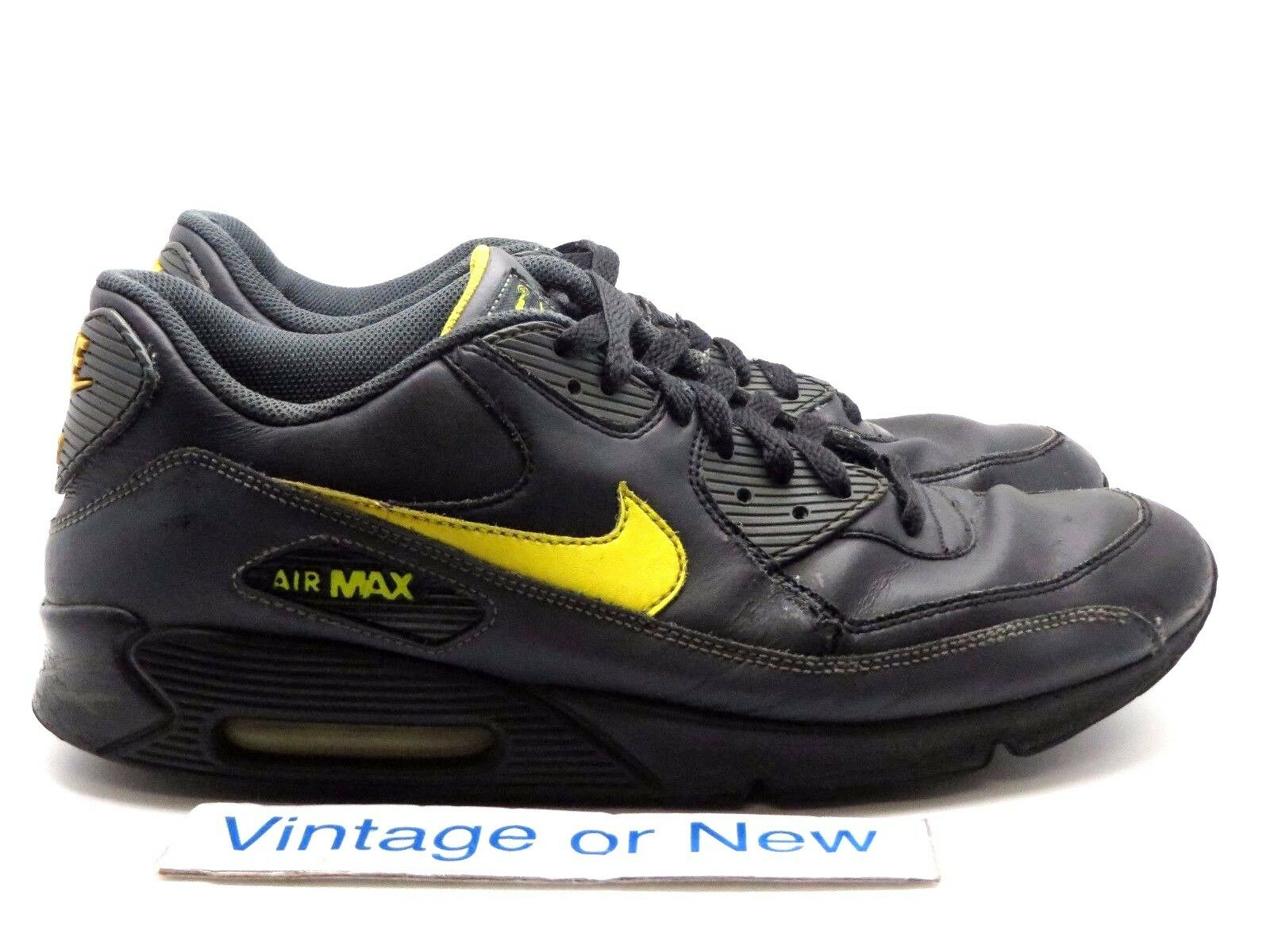 Men's Nike Air Max '90 Black Zest Anthracite Running Shoes 302519-073 sz 11.5
