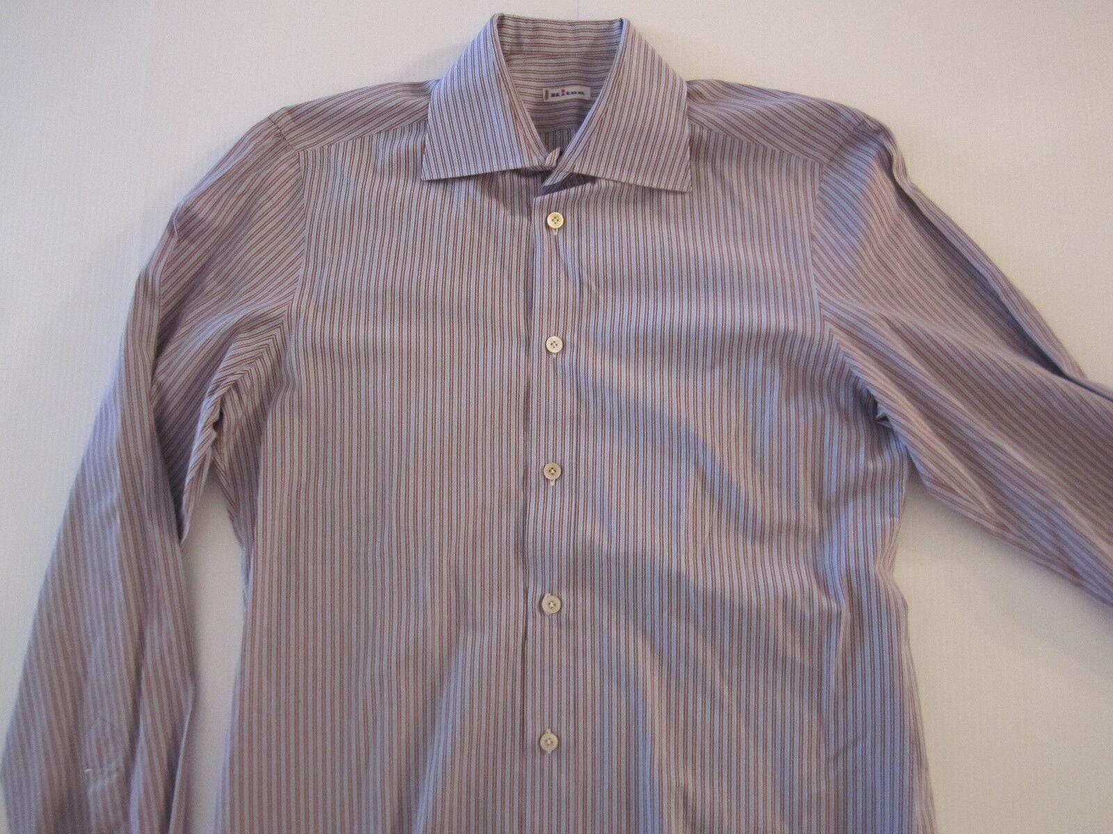 KITON NAPOLI bluee & Burgundy Stripe Handmade Dress Shirt  16 AMAZING