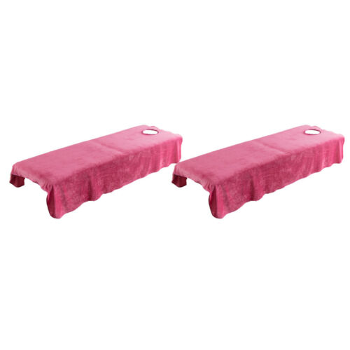 2pcs Flannel Massage Table Sheet Velvet Beauty Bed Cover with Face Hole