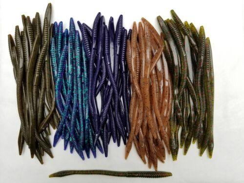 100 pk - 6 Finesse Worms - 5 COLORS/20 EACH - SALT & SCENT - Bulk - Bass Lures