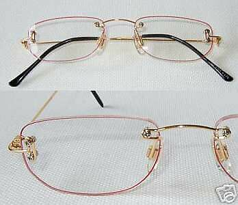 ZiZi Men Rimless Reading Glasses CRIMSON & GOLD +2.75