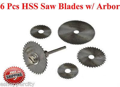 "6 Pcs HSS Circular Saw Blade Set  w/ Arbor for Dremel Fordom Tool 1/8"" Rotary"