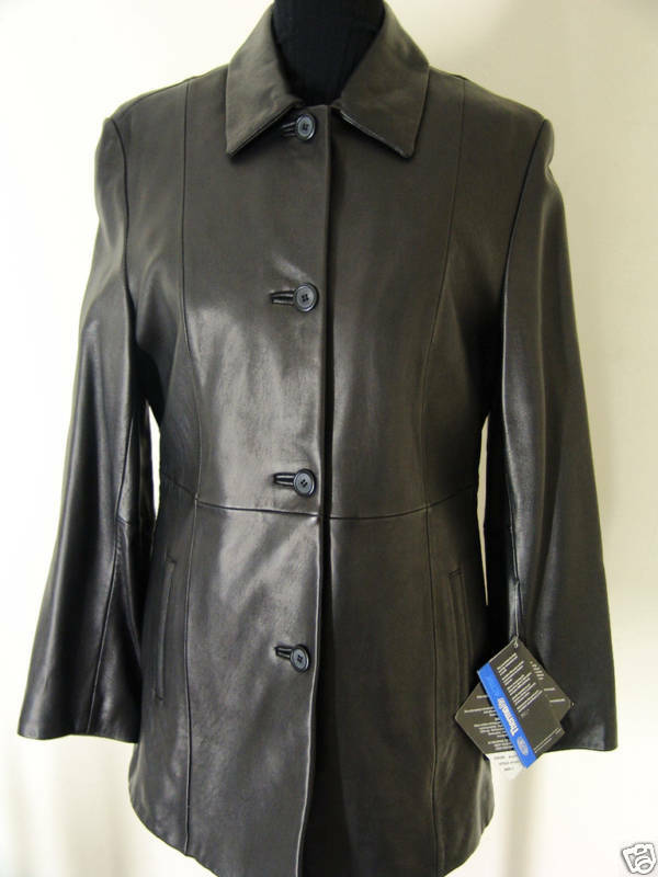 TIBOR NEW size S button front blazer style leather  coat