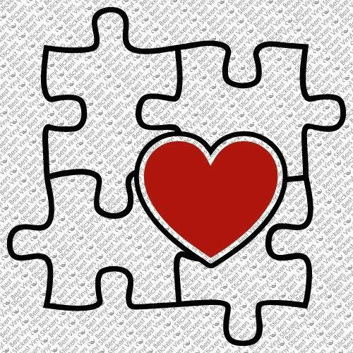 AW-05 2 COLOR AUTISM AWARENESS PUZZLE HEART CAR VINYL DECAL STICKER