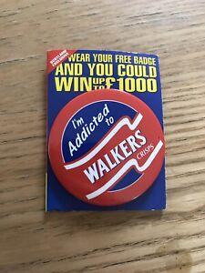 I/'m addicted to WALKERS Crisps  pin badge  1996 Granada TV Area