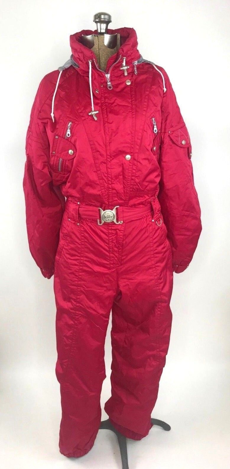 Killy Womens Ski Suit Size 8 Pink Hooded Belted One Piece Snowsuit Recco System