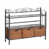 Bakers Rack 3 Basket Drawer Kitchen Console Rattan Wicker Storage Metal Frame