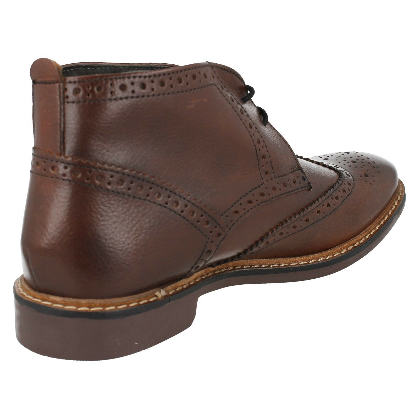 Herren BROWN LEATHER FORMAL BASE SMART BROGUE ANKLE Stiefel BASE FORMAL LONDON TRICK SIZE 7 - 12 aea84e