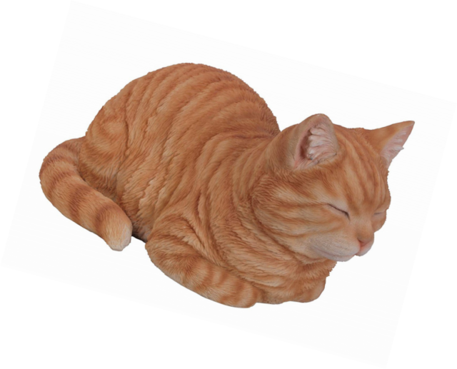 Vivid Arts GINGER SLEEPING CAT resin pet animal ornament NEW