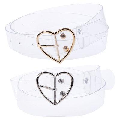 Women Fashion Transparent Belt Round Shape Buckle Invisible Clear Waist Belt