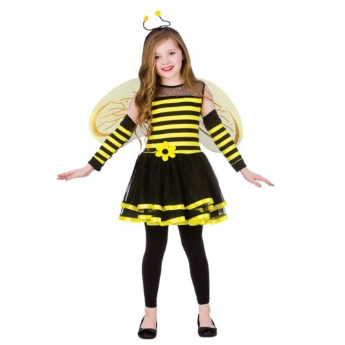 Girls Cute Bumble Bee Costume Insect Animal Kids Fancy Dress Outfit Ages 5-13