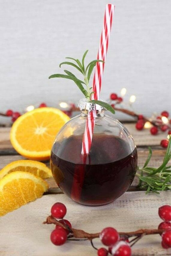 Set of 12 12 12 Festive Christmas Bauble drinking glass Glasses with Straw and recipe 660ac4