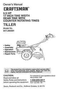 Craftsman 5 5 Hp 17 Rear Tines Tiller 917 293301 Operator Maintenance Manual Ebay