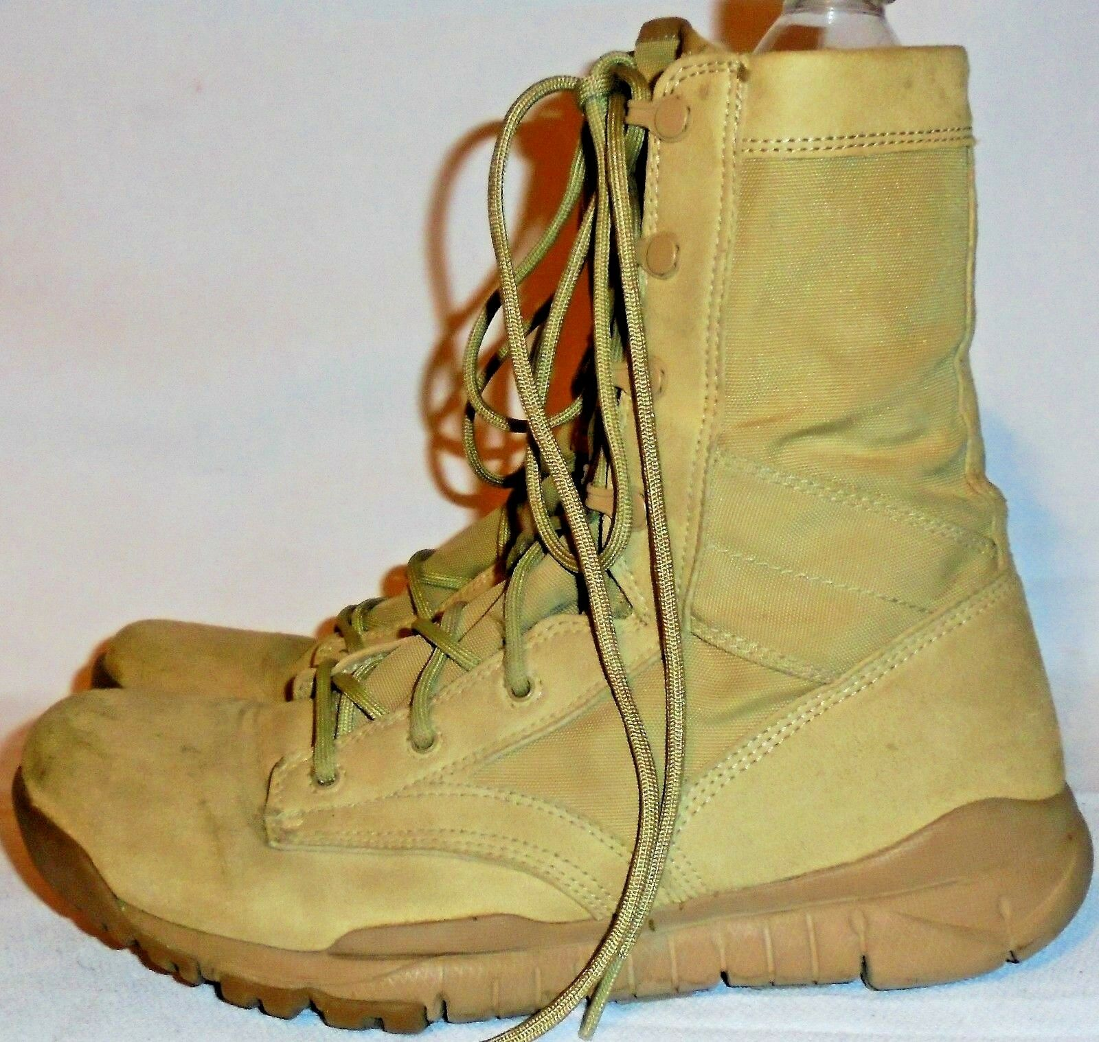 NIKE, BROWN SUED FABRIC MILITARY STYLE LACE UP BOOT, SIZE 7 1/2 M, 11 1/2 IN. LO