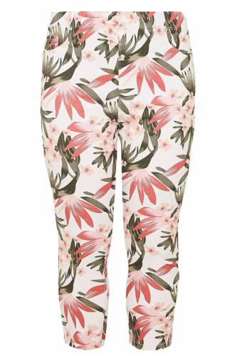 YOURS LADIES CROPPED FLORAL PRINT /'JENNY/' JEGGINGS NEW ref 745