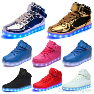 Details About 2018 Gift Women Men 7 Color Led Light Up Shoes Luminous Casual Sneakers High Top