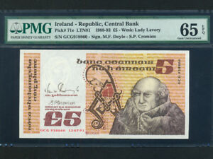 Ireland-Republic-P-71e-5-Pounds-1991-John-Scotus-Eriugena-PMG-GEM-UNC-65-EPQ