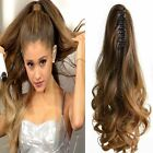 2017 New Wavy 100% Remy human hair extensions Claw Clip in HighPonytail