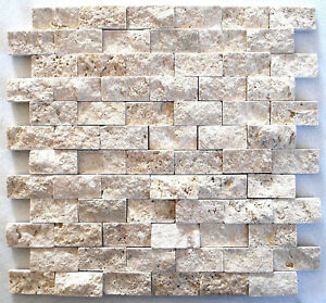 Light Travertine 1x2 Splitface Mosaic Ivory Tile Backsplash Wall