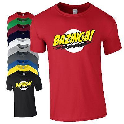 BAZINGA T-Shirt Sheldon Cooper Big Bang Theory TV Series Mens Kids Tee Top Gift