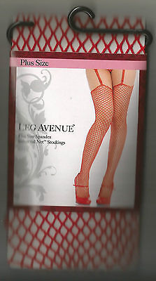 L XL RED INDUSTRIAL SPANDEX FISHNET STOCKINGS FETISH GOTHIC PUNK PLUS SIZE BBW