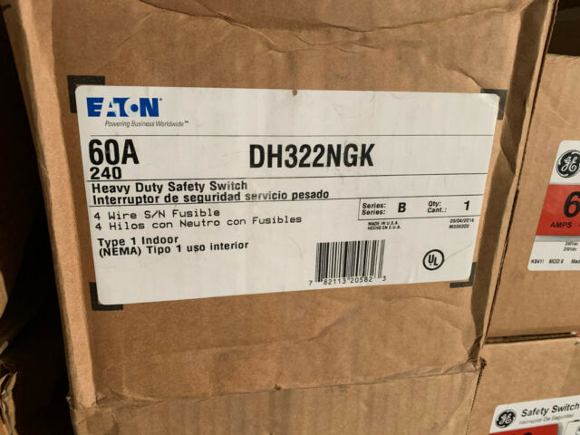 Dh322ngk 60 Amp 240v 3 Phase 4 Wire Fused Nema 1 Indoor