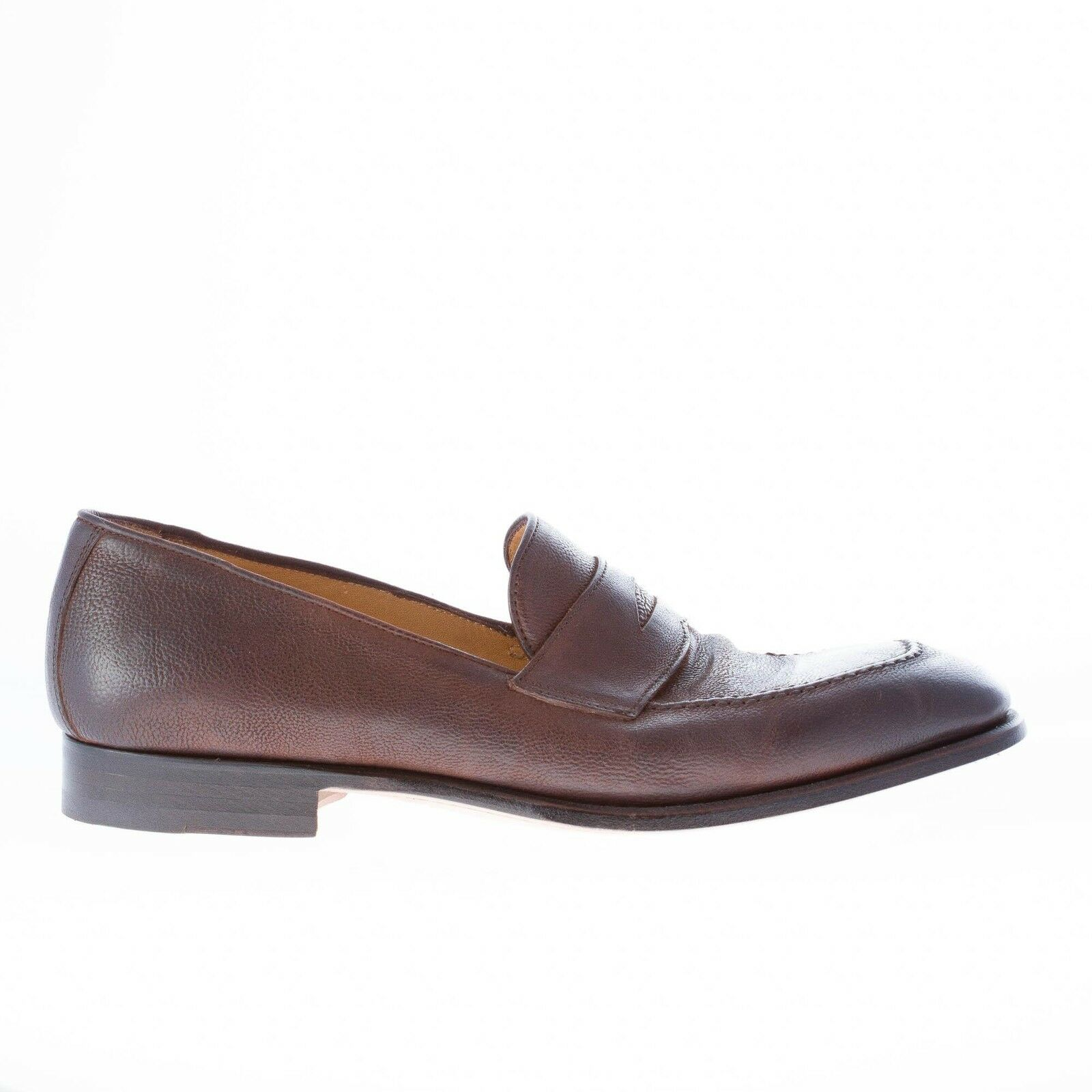 MIGLIORE men shoes made in  Dark brown antiqued leather penny loafer
