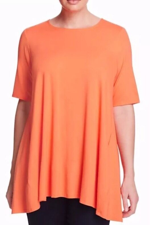 PL EILEEN FISHER Guava lightweight Viscose Jersey Swingy Tunic Top NWT