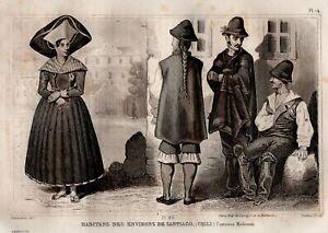 Suits-Inhabitants-Santiago-Chile-Engraving-Antique-Original-19th
