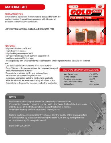 ZX10R 2x Sets for: KAWASAKI ZX-10R 2008-2012 GOLDFREN FRONT BRAKE PADS