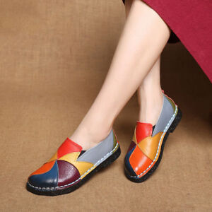 3216ed103b6 Image is loading SOCOFY-Women-Handmade-Splicing-Genuine-Leather-Shoes-Soft-