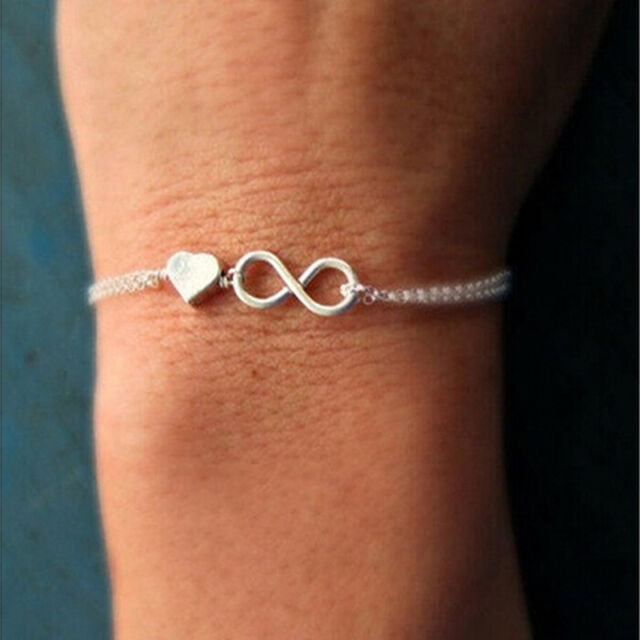 Gold Silver Lucky Number 8 Designed Love Heart Chain Bracelet Bangle Jewelry SR